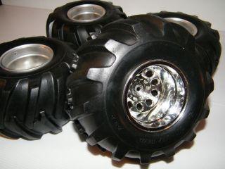 4 Four Tamiya 1 10 RC Juggernaut 2 Monster Truck Tires on TXT 1 Wheels