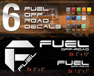 Fuel Off Road Vinyl Truck Decals 6pc Chevy Dodge Ford GMC Nissan Toyota Jeep