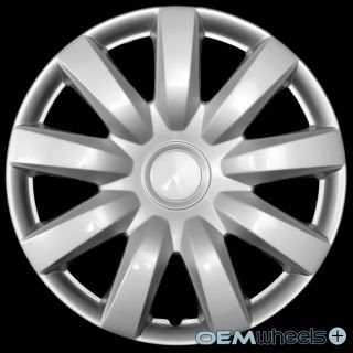 "4 New Silver 15"" Hub Caps Fits Nissan Versa Car Stock Center Wheel Cover Set"