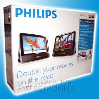 """New Philips Twin Dual 9"""" LCD Portable Car DVD Player w Auto AC Adapter PD9016"""