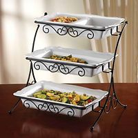 Buffet Server Adjustablel Catering Trays Kitchen Party Server Platters Dish Home