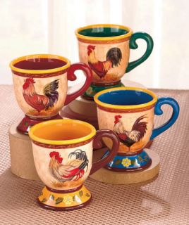 Set of 4 Mugs Coffee Tea Drinks Country Kitchen Rooster Themed Dinnerware New