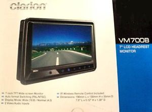 "New Clarion VM700B 7"" LCD Headrest Stand Alone Widescreen Monitor"