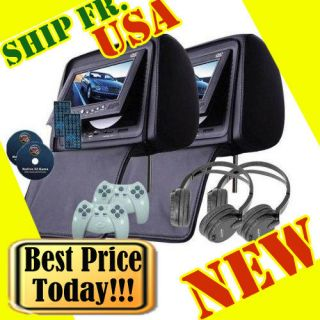 Black 2X 7 inch Car Headrest DVD Player Radio TV Monitor Headphones Game Handles