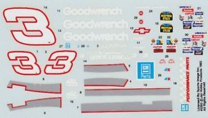3 Dale Earnhardt Goodwrench Chevy 1 32 Slot Car Decals