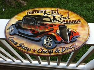 """Custom Hot Rod Garage Sign Metal Embossed 20x14"""" Duece Coupe Ford Rat Rod"""