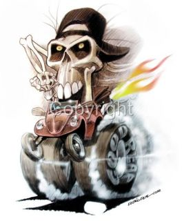 Hot Rod Bug Skull Rider Cartoon T Shirt 4124 Dave Deal VW Cartoontees
