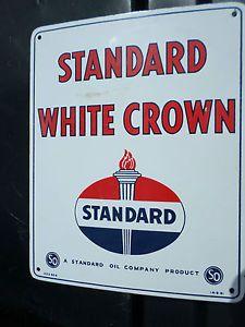 Standard White Crown Porcelain Gas Pump Sign Globe Oil Can Car Tire