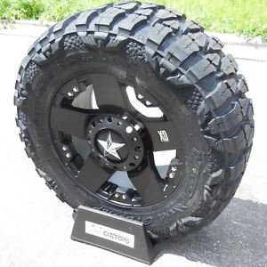 "18"" Black Rockstar Wheels Rim 35"" Nitto Mud Grappler Tires Silverado 1500 Sierra"