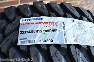 4 New Lt 33 x 13 50 R 15 Toyo Open Country M T 6 Ply Mud Tires