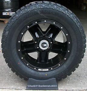 20x10 HD Dig Wheels Black Gladiator QR900 35x12 50R20 Mud Tires Ford F250 F350