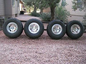 "Full Set Jeep YJ TJ Wheels Tires 35"" BFG Mud KM2 17x8 5 Procomp 5x4 5"