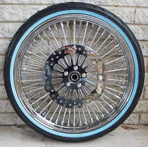 "DNA Mammoth 52 Fat Daddy Spoke Chrome Wheel 4 Harley w White Wall Tire 21x2 15"""