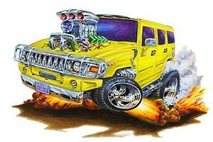 2004 12 Chevrolet Hummer 4x4 Truck Cartoon Style Wall Graphic Decal Skin Decor
