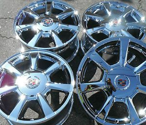 """17"""" Cadillac cts New Chrome Rims Wheels Factory GM Caps 4 Set Outright 5x120"""