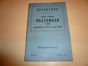 1947 Ford Passanger Car Models 79a and 7ga Owners Manual Vintage Glove Box
