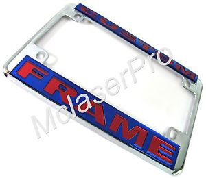 Personalized Custom Made Chrome Motorcycle License Plate Frame with Colors
