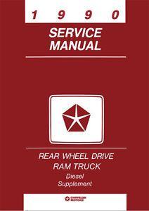 1990 Dodge RAM Truck Cummins 5 9L Diesel Engine Shop Service Repair Manual Book