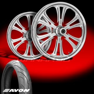 """RC Components Czar 23"""" Chrome Wheels Tires for 2009 13 Harley Touring"""