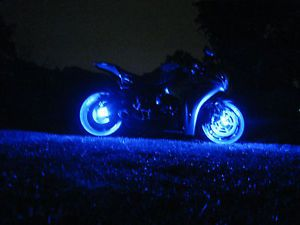 Blue LED Motorcycle Wheel Lighting Custom Glow Pod Accent Bike Lite Sport E
