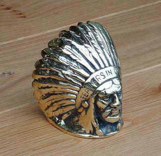 Brass Guy Motors Radiator Cap Truck Bus Native American Indian Feathers Mascot