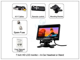 "7"" inch HD Car Monitor LCD Screen in Car Use Headrest Stand Mount 2 RCA AV In"