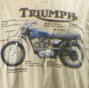 Triumph Trophy TR5T 1973 Motorcycle Parts Diagram T Shirt Large 500cc Engine