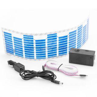 45 x 11cm Blue Car Music Rhythm LED Flash Light Sticker Sound Equalizer Decor X1