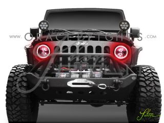 Oracle Jeep 07 Wrangler JK Plasma Green Angel Eyes Demon Halo Fog Light Bulbs