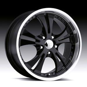 "17"" inch 5x4 5 Black Machined Shockwave Wheels Rims 5 Lug Acura Dodge Ford Honda"