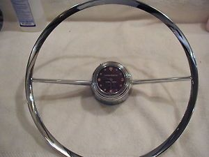 1955 1956 Chrysler Swiss Benrus Steering Wheel Clock Rechromed Horn Ring