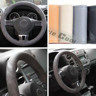 "43012 14 15"" 38cm Steering Wheel Cover Grey Leather Fiat Wrap BMW Audi Car SUV"
