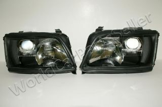 94 97 Audi A6 C4 Headlights Lamps Black Pair