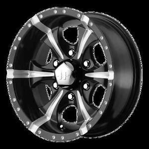 17 inch New Gloss Black HE871 Wheels 6 Lug Rims Chevy Silverado 1500 GMC Truck