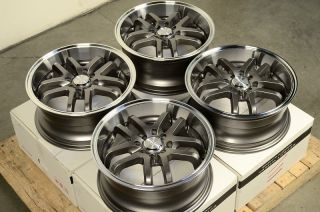 "16"" Gun Metal Deep Dish Wheels Rims 4x100 Integra Aveo Cobalt Accord Civic Miata"