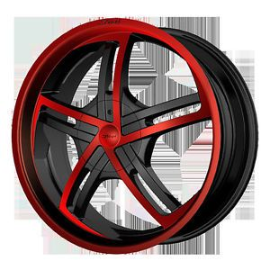 """18"""" Dvinci Cinque Black Red Paint Wheels Tires Fit Nissan Toyota Kia Ford Chevy"""