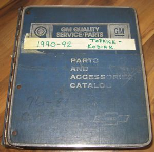 1990 1992 Chevrolet GMC Truck Topkick Kodiak Parts Illustration Catalog Manual