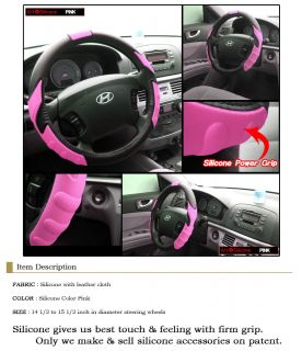 Silicone Car Truck Steering Wheel Cover Pink 38