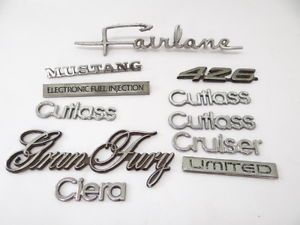 Lot of Vintage Used Old Mustang Gran Fury Ford Oldsmobile Car Side Emblems Parts