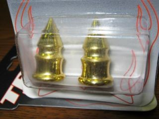 2 Gold Bullets Spike Valve Stem Caps Covers Bikes Hot Rod Motorcycles Harley