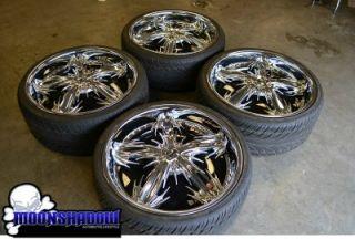 "22"" Dub Spine Chrome Spinner Wheels Rims Box Chevy Caprice Oldschool"