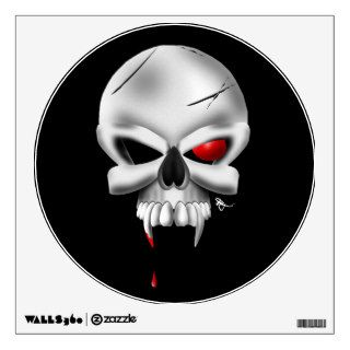 Scary Bloody Vampire Skull Halloween Wall Decal