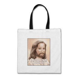 Sepia Jesus Art Bible Quote   1 Corinthians 15:57 Tote Bag