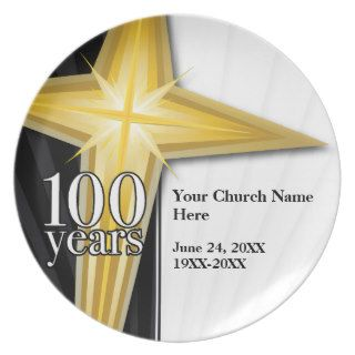 Customizable 100 Year Church Anniversary Dinner Plate