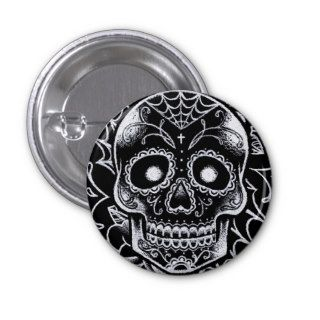 Black and White Sugar Skull Tattoo Flash Pins