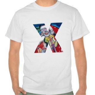 XMAS X LETTER /SANTA  CLAUS WITH VIOLIN MONOGRAM TSHIRTS