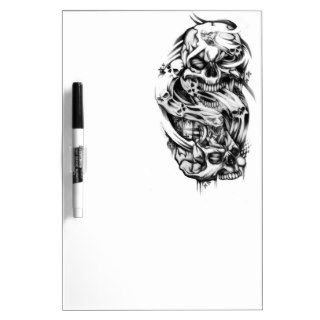 Evil skull tattoo style art. Sin and smoke skulls. Dry Erase Boards