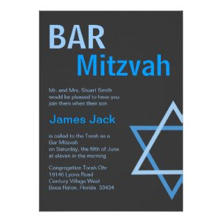 Modern Bar Mitzvah Invitiation  Blue & Grey Custom Announcements