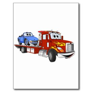 Red Cartoon Flatbed Tow Truck Postcards