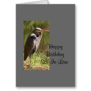 Happy Birthday, Son In Law, Blue Heron by lake Cards